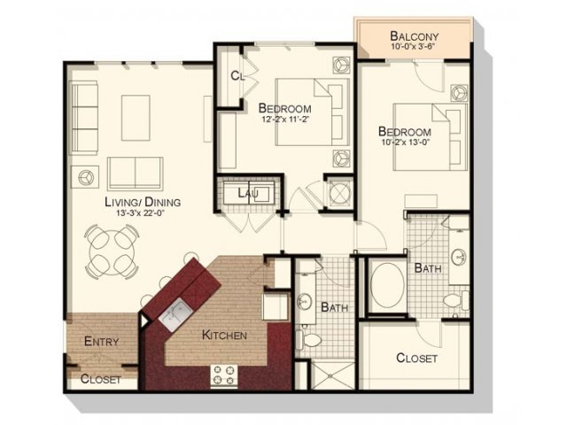 Two bedroom two bathroom 1070 sqft floorplan at Southpoint Village Apartments in Durham, NC