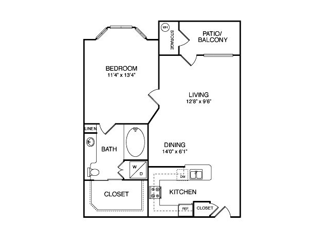 One bedroom one bathroom A1 Floorplan at Neo Midtown Apartments in Dallas, TX