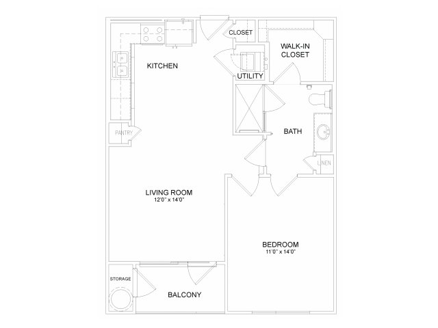 One bedroom one bathroom A21M Floorplan at Neo Midtown Apartments in Dallas, TX