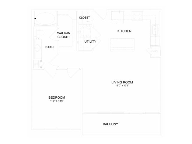 One bedroom one bathroom A3M Floorplan at Neo Midtown Apartments in Dallas, TX