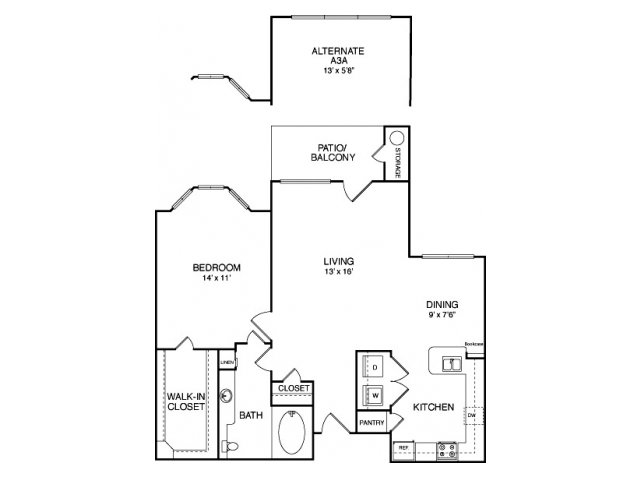 One bedroom one bathroom A6 Floorplan at Neo Midtown Apartments in Dallas, TX