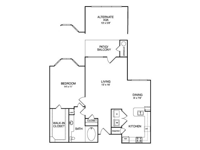 One bedroom one bathroom A7 Floorplan at Neo Midtown Apartments in Dallas, TX