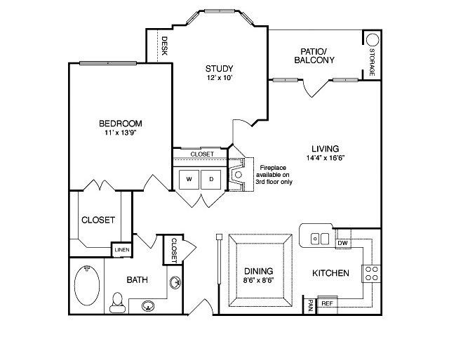 Two bedroom one bathroom B1 Floorplan at Neo Midtown Apartments in Dallas, TX