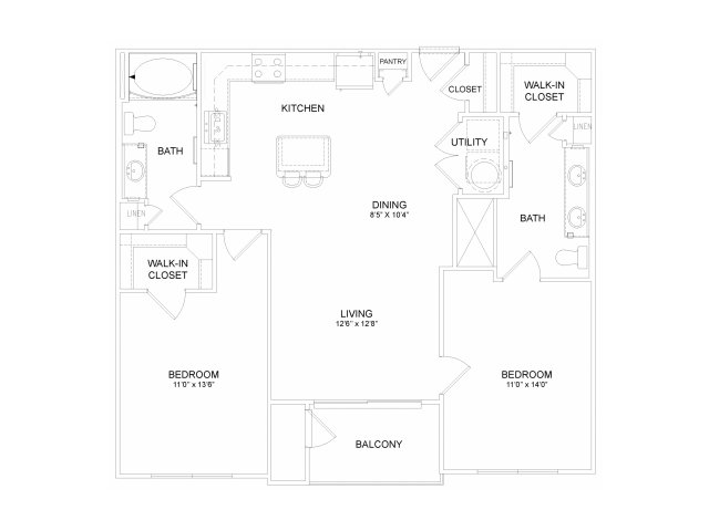 Two bedroom two bathroom B3M Floorplan at Neo Midtown Apartments in Dallas, TX