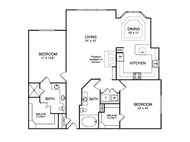 Two bedroom two bathroom B9 Floorplan at Neo Midtown Apartments in Dallas, TX