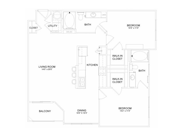 Two bedroom two bathroom B4M Floorplan at Neo Midtown Apartments in Dallas, TX