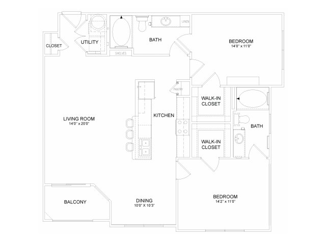 Two bedroom two bathroom B41M Floorplan at Neo Midtown Apartments in Dallas, TX
