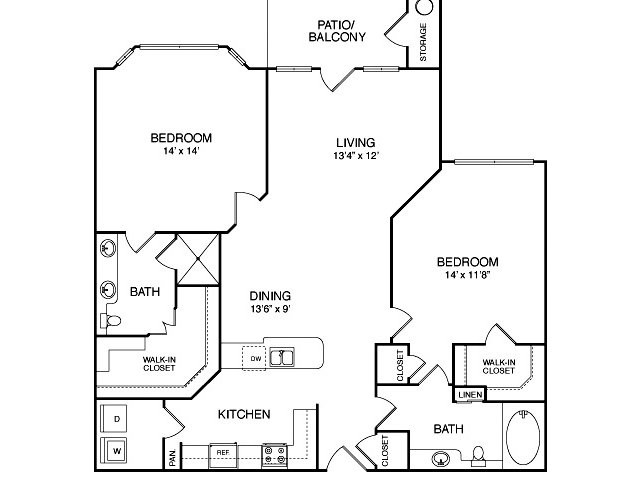 Two bedroom two bathroom B5 Floorplan at Neo Midtown Apartments in Dallas, TX