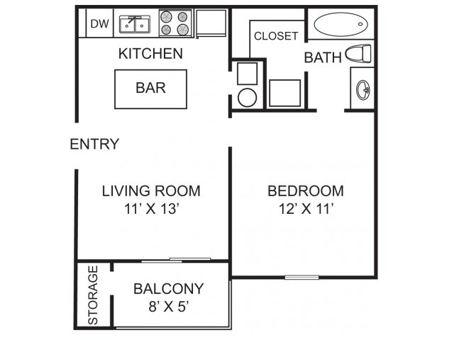 One bedroom one bathroom A1 Floorplan at Morgan Place Apartment Homes in Atlanta, GA