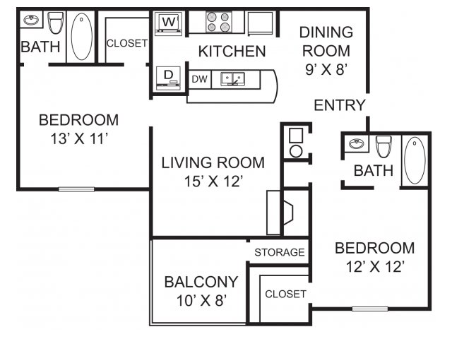Two bedroom two bathroom B1 Floorplan at Morgan Place Apartment Homes in Atlanta, GA