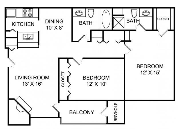 Two bedroom two bathroom B1 floorplan at The Landings at the Preserve Apartments in Battle Creek, MI