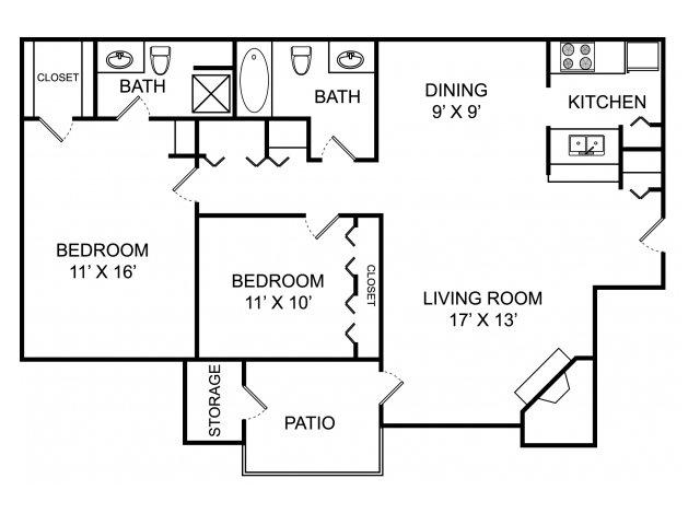 Two bedroom two bathroom B2 floorplan at The Landings at the Preserve Apartments in Battle Creek, MI
