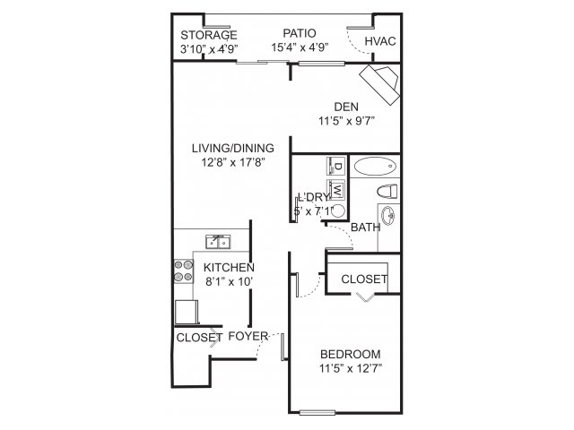 One bedroom one bathroom A2D floorplan at Spring Valley Apartments in Farmington Hills, MI