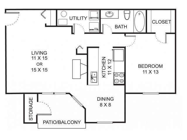 One bedroom one bathroom A1 floorplan at Summer Ridge Apartments in Kalamazoo, MI