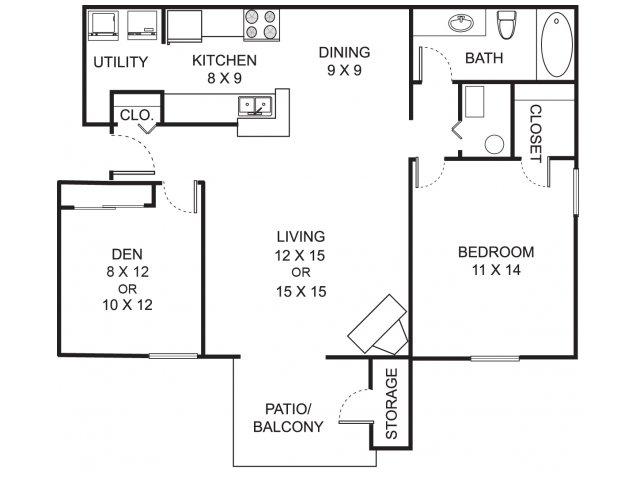 One bedroom one bathroom A2D floorplan at Summer Ridge Apartments in Kalamazoo, MI