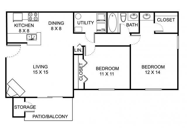 Two bedroom one bathroom B1 floorplan at Summer Ridge Apartments in Kalamazoo, MI