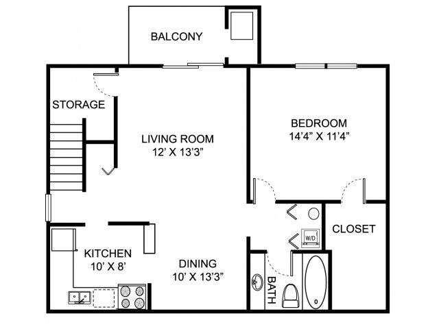 One bedroom one bathroom A2 Floorplan at Oaks at Hampton Apartments in Rochester Hills, MI