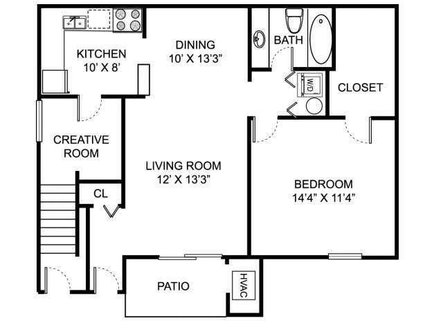 One bedroom one bathroom A1D Floorplan at Oaks at Hampton Apartments in Rochester Hills, MI