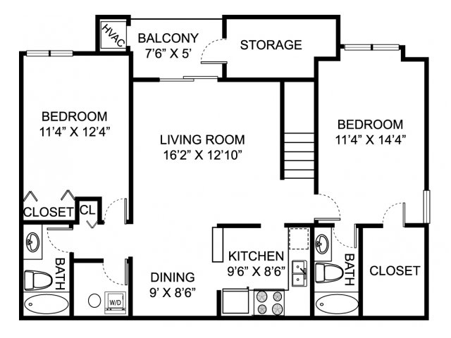 Two bedroom two bathroom B2 Floorplan at Oaks at Hampton Apartments in Rochester Hills, MI