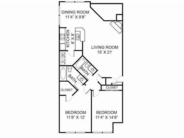 Two bedroom two bathroom B1 Floorplan at Kensington Grove Apartment Homes in Westerville, OH
