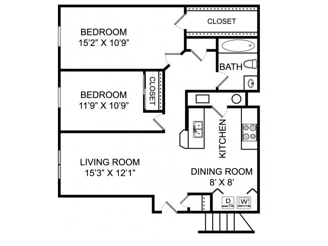 Two bedroom one bathroom B1 Floorplan at Lake Forest Apartments in Westerville, OH