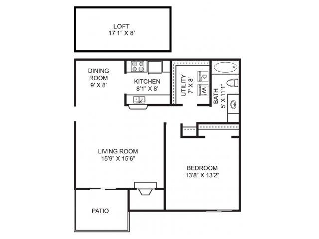 One bedroom one bathroom A2L Floorplan at Mallard\'s Crossing Apartments in Medina, OH