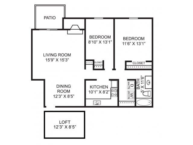 Two bedroom one bathroom B5L Floorplan at Mallard\'s Crossing Apartments in Medina, OH