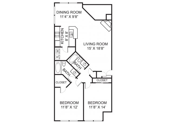 Two bedroom two bathroom B1 floorplan at The Residence at Christopher Wren Apartments in Gahanna, OH