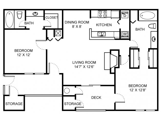 Two bedroom two bathroom B1 Floorplan at Saw Mill Village Apartments in Columbus, OH