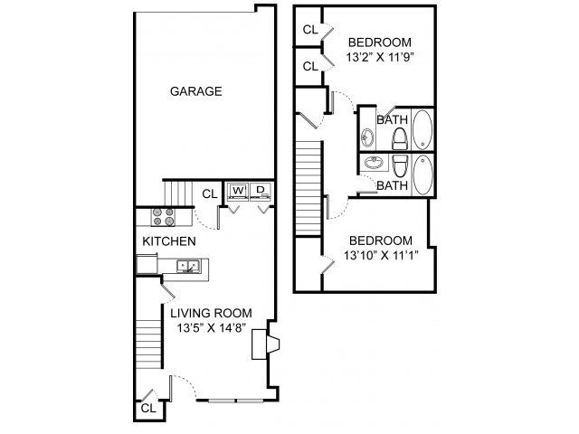 Two bedroom two bathroom B1TH floorplan at Williamsburg Townhomes Rental Homes in Sagamore Hills, OH