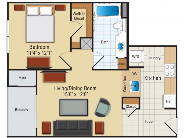 One bedroom one bathroom A1 Floorplan at Riverside Station Apartments in Woodbridge, VA
