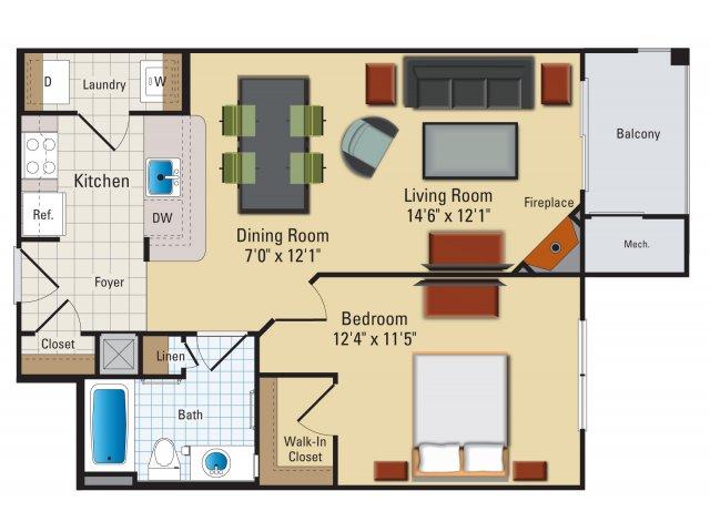 One bedroom one bathroom A2 Floorplan at Riverside Station Apartments in Woodbridge, VA