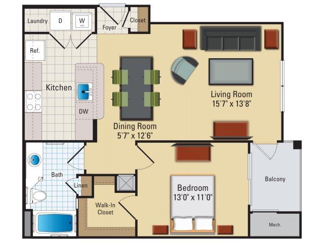 One bedroom one bathroom A3 Floorplan at Riverside Station Apartments in Woodbridge, VA