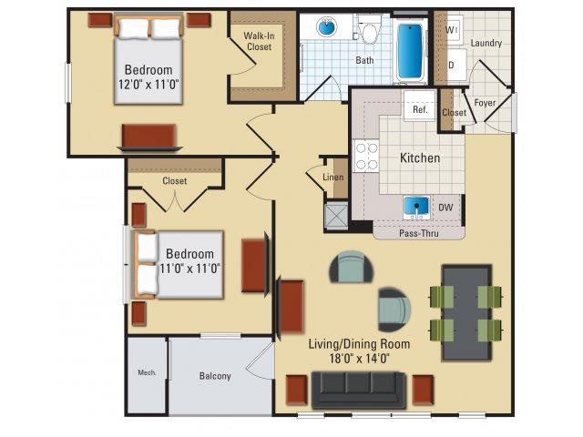 Two bedroom one bathroom B1 Floorplan at Riverside Station Apartments in Woodbridge, VA