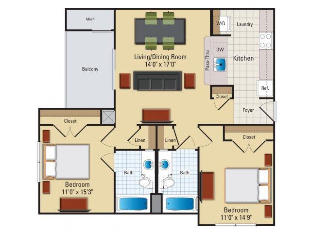 Two bedroom two bathroom B2 Floorplan at Riverside Station Apartments in Woodbridge, VA