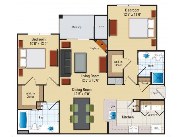 Two bedroom two bathroom B4 Floorplan at Riverside Station Apartments in Woodbridge, VA