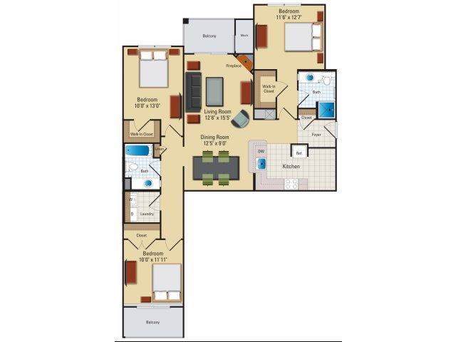 Three bedroom two bathroom C1 Floorplan at Riverside Station Apartments in Woodbridge, VA