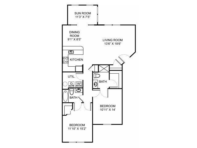 Two bedroom two bathroom B4 floorplan at The Village at Avon Apartments in Avon, OH
