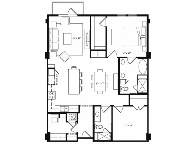 One bedroom two bathroom A8 floor plan at Cantabria at Turtle Creek Apartments in Dallas, TX