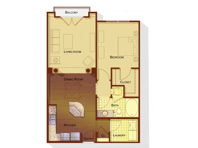 One bedroom one bathroom A2 floorplan at Apartments at the Arboretum in Cary, NC
