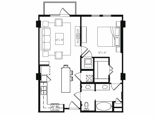 One bedroom one bathroom A3 floor plan at Cantabria at Turtle Creek Apartments in Dallas, TX