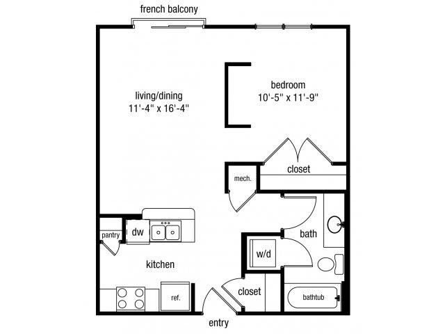Studio one bathroom S1 floorplan at The Alexander at Ghent Apartment Homes in Norfolk, VA