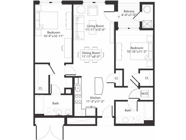 Two bedroom two bathroom B5 floorplan at 7001 Arlington in Bethesda, MD