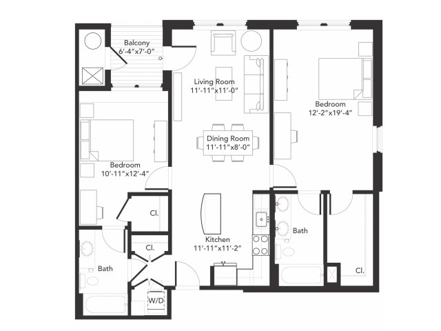 Two bedroom two bathroom B6 floorplan at 7001 Arlington in Bethesda, MD