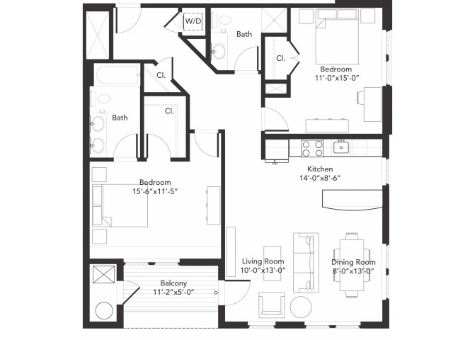 Two bedroom two bathroom B7 floorplan at 7001 Arlington in Bethesda, MD