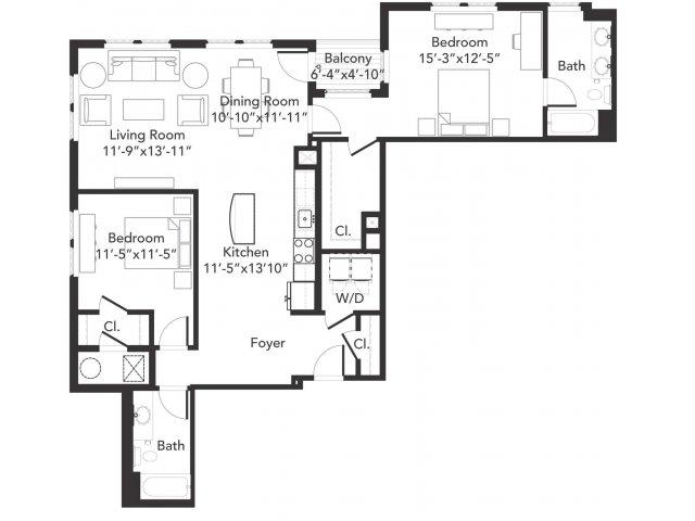 Two bedroom two bathroom B8 floorplan at 7001 Arlington in Bethesda, MD