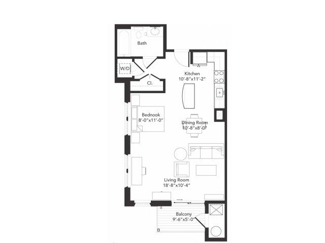 Studio one bathroom S1 floorplan at 7001 Arlington in Bethesda, MD