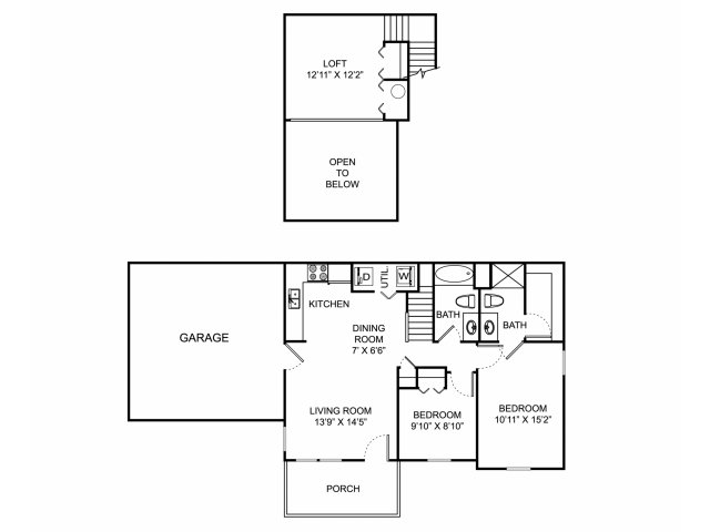 Two bedroom two bathroom B1THL floorplan at The Village at Avon Apartments in Avon, OH