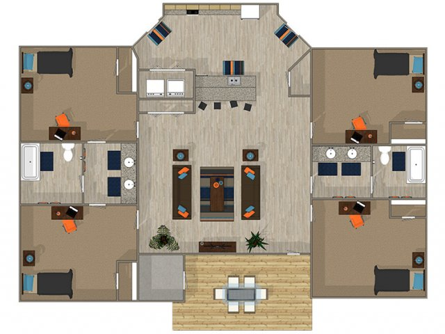 4 Bedroom Floor Plan | 700 SoHo