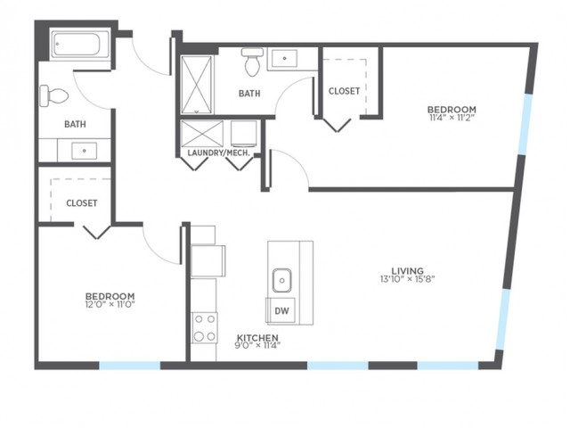 2 Bedroom Floor Plan | Rentals In Milwaukee | Stitchweld